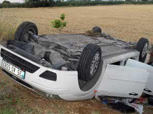 Otomobil devrildi; 1 ölü 4 yaralı