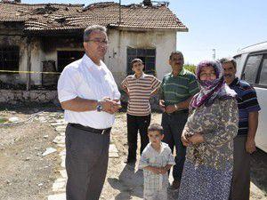 Evi yanan aileye Karatay Belediyesi elini uzattı