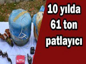 10 yılda 61 ton patlayıcı ele geçirildi