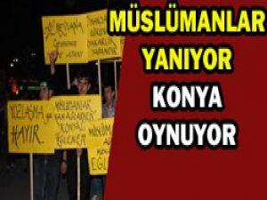 Konyada konser protestosu