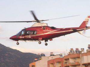 Ağaçtan düşen hamile kadına helikopter yetişti