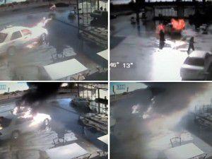 Otomobil, akaryakıt istasyonunda patladı!