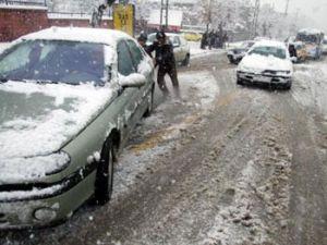 Konyada kar yağışı