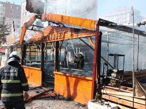 Konyada kafede yangın