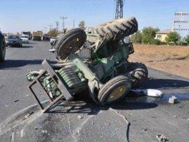 Freni patlayan kamyon traktörü biçti