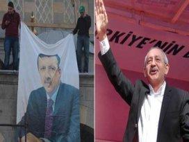 Erdoğan posteriyle karşılandı