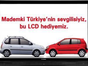 Araba alana LCD televizyon