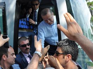 Erdoğan'a bisikletli karşılama