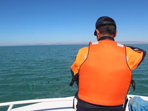 Balıkçıların serdiği ağları jandarma topluyor