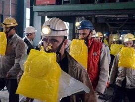 Maden ocağında gaz maskesi tatbikatı
