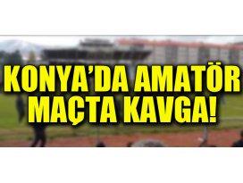 Konyada amatör futbol maçında kavga