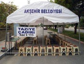 Akşehir Belediyesi'nden taziye çadırı hizmeti