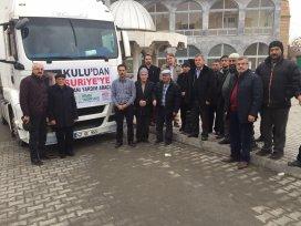 Kulu'dan 1 TIR insani yardım Suriye'ye gönderildi