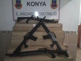 Beyşehirde usulsüz olarak üretilmiş 100 av tüfeği yakalandı