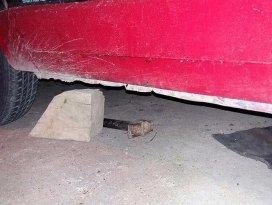 Tamir için takozla kaldırdığı otomobilin altında kaldı