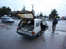 Beyşehirde otomobil yangını: 2 yaralı
