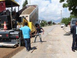 Seydişehirde asfaltlama çalışması