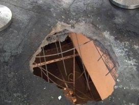 Patlamanın şiddetiyle beton delindi