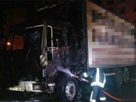 Parasını alamadığı firmanın kamyonunu yaktı!