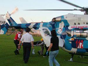 Komaya giren öğrenciyi helikopter ambulans taşıdı