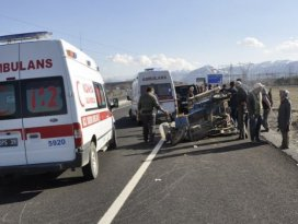 Konya'da triportör devrildi