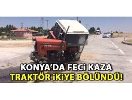 Konyada otomobille çarpışan traktör ikiye bölündü