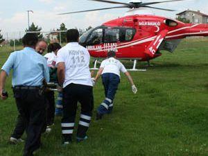Ağaçtan düştü, helikopter ambulans geldi