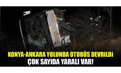 Konya-Ankara yolunda yolcu otobüsü şarampole devrildi