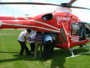 İşçinin kazasına helikopter yetişti